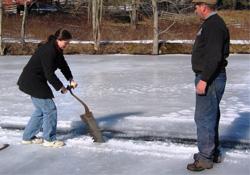 Barnyard in Winter – Ice Cutting and Wood Sawing